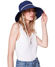 Canvas Wide-Brim Bucket Hat With Rope Detail