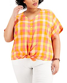 Plus Size Plaid Tie-Front Shirt, Created for Macy's