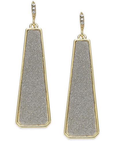 ABS by Allen Schwartz Gold-Tone Gray Texture Linear Drop Earrings