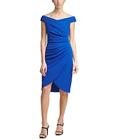 Off-The-Shoulder Ruched Scuba-Crepe Sheath Dress