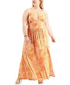 Plus Size Arabesque Paisley-Print Halter Dress