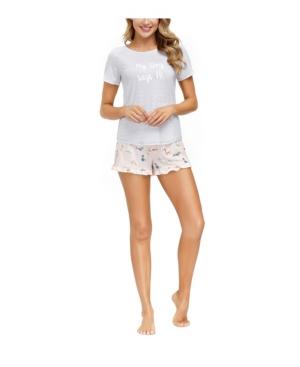 Women's Tee with Ruffle Short Loungewear Set