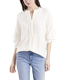 Women's Ruffle Sleeve Henley Blouse