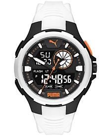 Men's Bold Analog-Digital White Polyurethane Strap Watch 48mm
