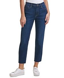 High-Rise Raw Hem Ankle Jeans