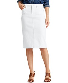Petite Five Pocket Denim Skirt