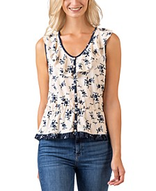 Black Label Sleeveless Floral V-Neck Ruffle Peplum Top