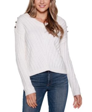 Black Label V-Neck Rib Knit Sweater with Embellishment
