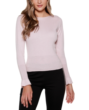 Black Label Boat Neck Sweater with Flounce Sleeves