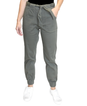 Juniors' High-Rise Tie-Front Joggers