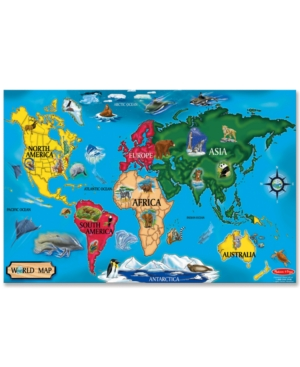 Melissa and Doug Kids Toy World Map 33Piece Floor Puzzle
