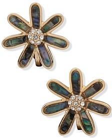Gold-Tone Pavé & Stone Flower Clip-On Button Earrings