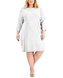 Plus Size Studded T-Shirt Dress, Created for Macy's