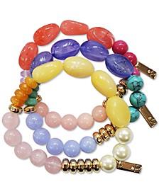 INC Gold-Tone 3-Pc. Set Multicolor Bead Stretch Bracelet