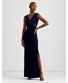 Lauren Ralph Lauren Sleeveless Portrait-Collar Draped Gown