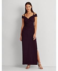 Embellished-Strap Off-The-Shoulder Gown