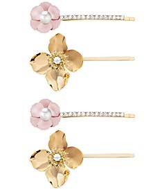 INC 4-Pc. Gold-Tone Crystal & Imitation Pearl Flower Bobby Pin Set, Created for Macy's