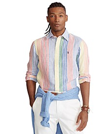 Men's Classic-Fit Striped Linen Shirt