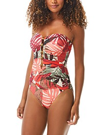 Printed Ruched Bandeau One-Piece Swimsuit