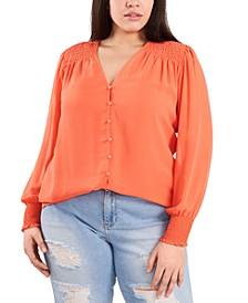 Trendy Plus Size Sheer Long-Sleeve Top