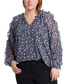 Trendy Plus Size Ruffled Cold-Shoulder Printed Top