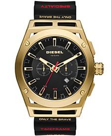 Men's Timeframe Chronograph Black Silicone Strap Watch 48mm