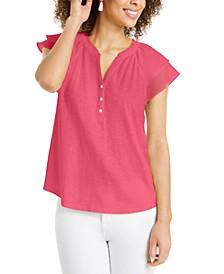 Ruffled Split-Neck Top, Created for Macy's