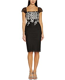 Embroidered-Floral Sheath Dress