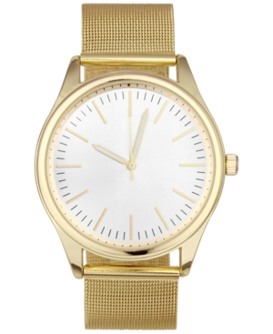 INC INTERNATIONAL CONCEPTS INC MEN'S GOLD-TONE STAINLESS STEEL MESH BRACELET WATCH 43MM, CREATED FOR MACY'S
