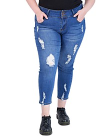 Trendy Plus Size Three-Button Distressed Skinny Jeans