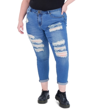 Trendy Plus Size Two-Button Distressed Skinny Jeans