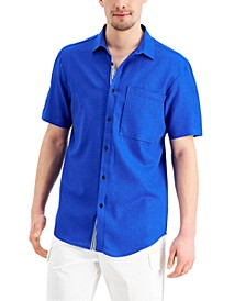 Men's Short-Sleeve Solid-Color Linen Shirt, Created for Macy's