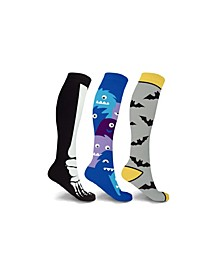 Men's and Women's Bats and Monsters Knee High Compression Socks - 3 Pairs