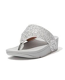Women's Olive Glitter Mix Toe-Post Sandals