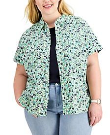 Plus Size Cotton Printed Camp Shirt