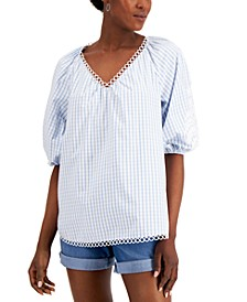 Petite Cotton Puff-Sleeve Striped Blouse, Created for Macy's