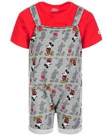 Baby Boys 2-Pc. Mickey-Print Shortall & T-Shirt Set
