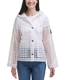 Gingham-Print Hooded Rain Coat