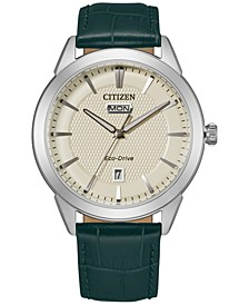 Eco-Drive Men's Corso Green Leather Strap Watch 40mm
