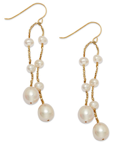 Cultured Freshwater Pearl Thread Earrings in 14k Gold-Plated over Silver