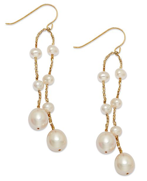 Macy's Cultured Freshwater Pearl Thread Earrings in 14k Gold-Plated over Silver