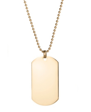 Men's Gold Plated Large Stainless Steel Dog Tag Necklace