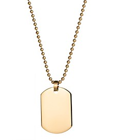 Men's Gold Plated Small Stainless Steel Dog Tag Necklace