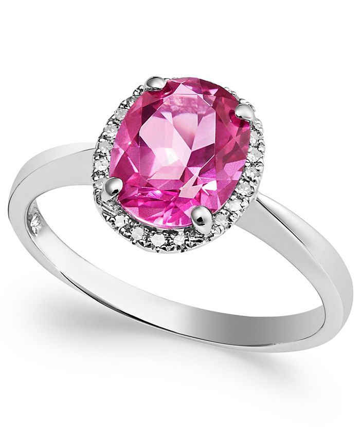 Macy's - 14k White Gold Pink Topaz (2 ct. t.w.) and Diamond Accent Ring