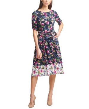 Jessica Howard PETITE FLORAL-PRINT JERSEY A-LINE DRESS
