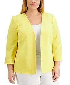 Plus Size Long Sleeve Flyaway Jacket