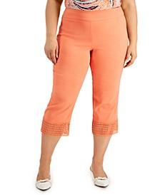 Plus Size Crochet-Hem Capri Pants, Created for Macy's
