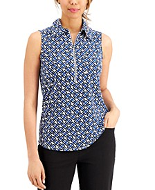 Printed Zip-Front Collared Top
