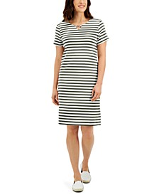 Cotton Janna Striped Split-Neck Dress, Created for Macy's