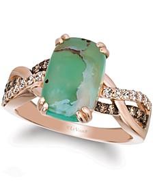 Crème Brûlée® Aquaprase Candy & Diamond (1/3 ct. t.w.) Statement Ring in 14k Rose Gold